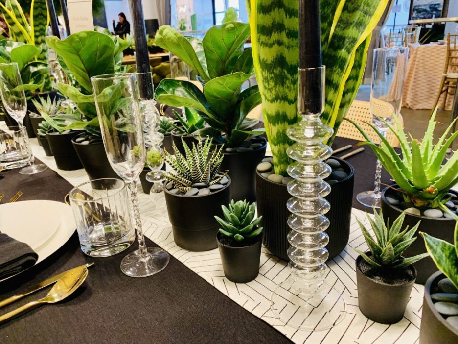 Designer Beebe Parker Interiors Heading Home to Dinner 2019 Tablescape plants and candles