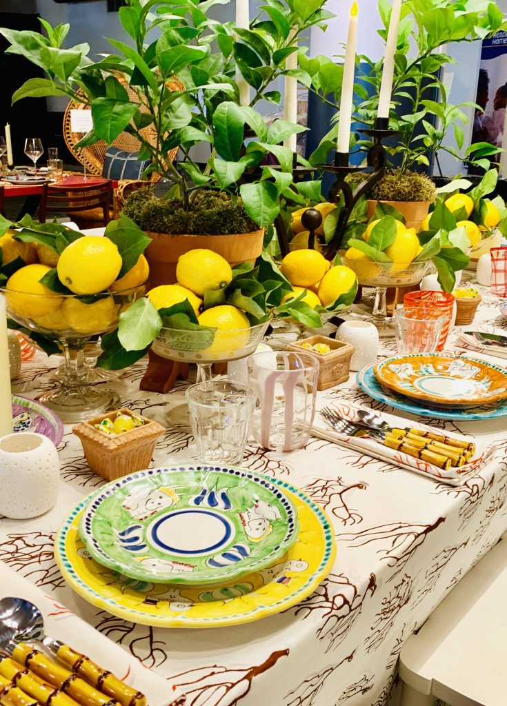 Designer Mally Skok Heading Home to Dinner 2019 Positano beautiful tablescapes placesetting