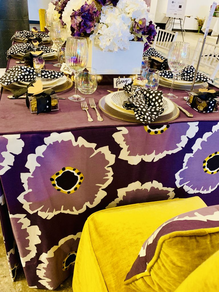 Designer Margot Heilbonner Heading Home to Dinner 2019 beautiful tablescapes purple yellow gold