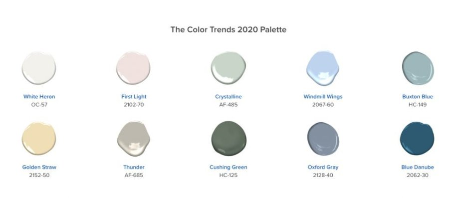 Ben Moore 2020 Color Palette