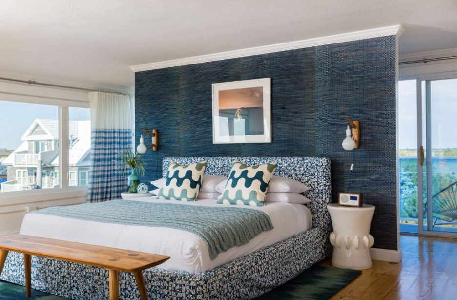 Blue Inn Plum Island Newburyport Massachusetts blue wall guest bedroom