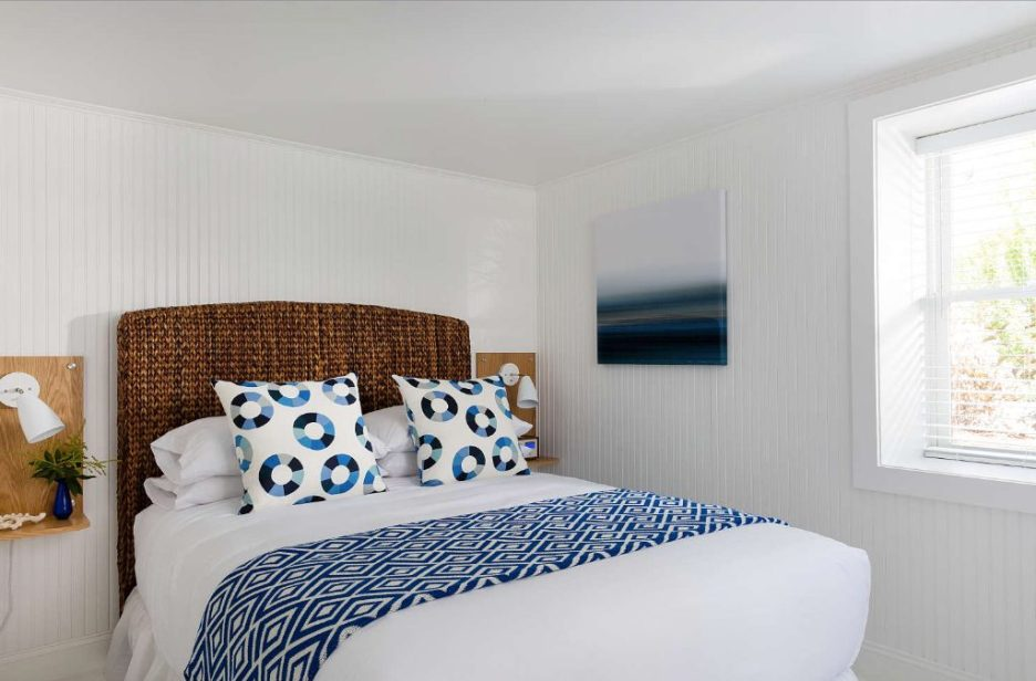 Blue Inn Plum Island Newburyport Massachusetts rattan headboard guest bedroom