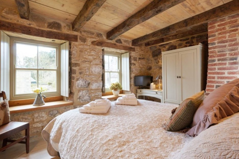 Tudor stone bastle Northumberland England Photo by David Webb guest bedroom Stone cottage