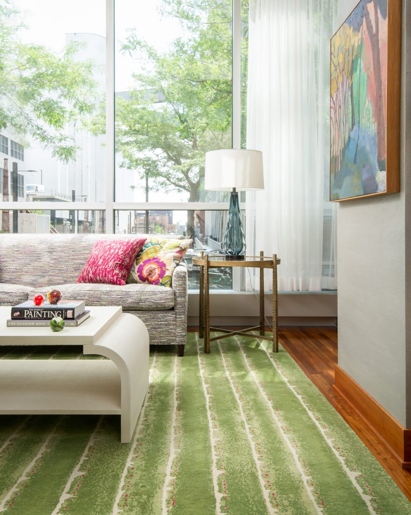 Lisa Peck Syvie & MiraDeckle Dot rug in Green design by LiLu Interiors photo Kory Kevin designer collections