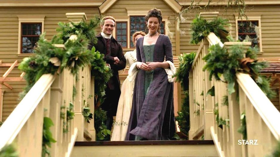Starz outlander the ridge exterior house staircase wedding Jamie Claire Brianna outlander-online Season 5