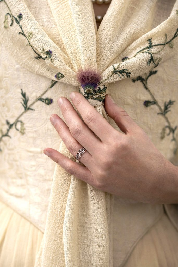 Starz Outlander The Ridge wedding dress closeup Season 5