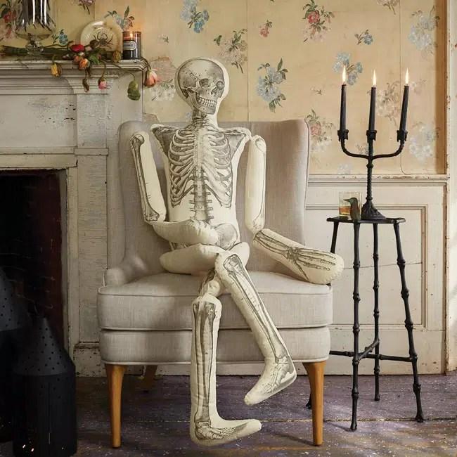 John Derian Halloween for Target skeleton pillow