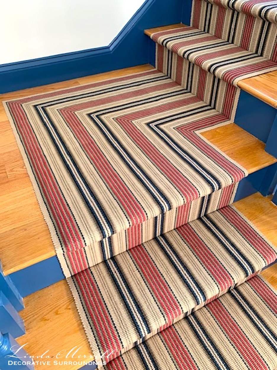 Linda Merrill Colorful Cape Cod Home flat weave stair runner up