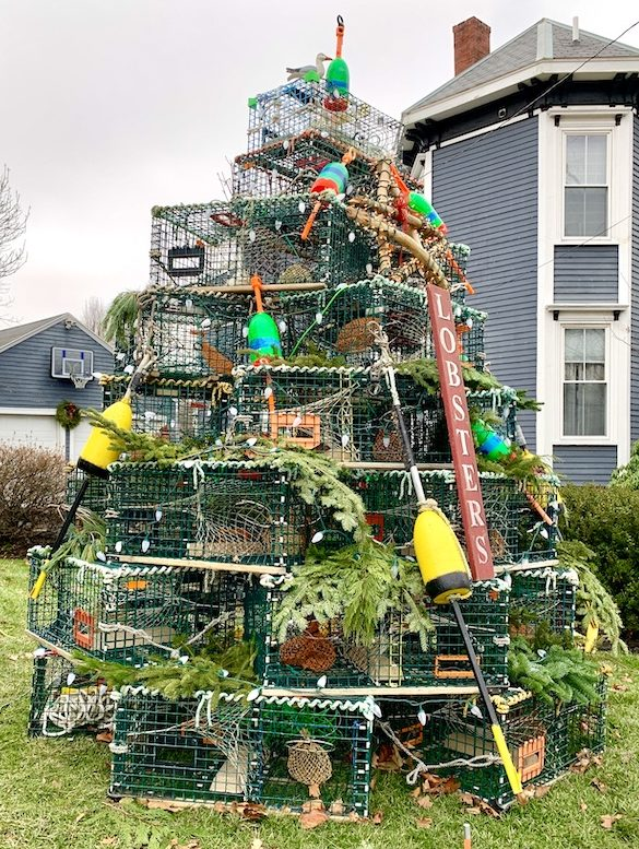Newburyport 2020 Holiday House Tour Yellow Colonial High Street lobster pot tree