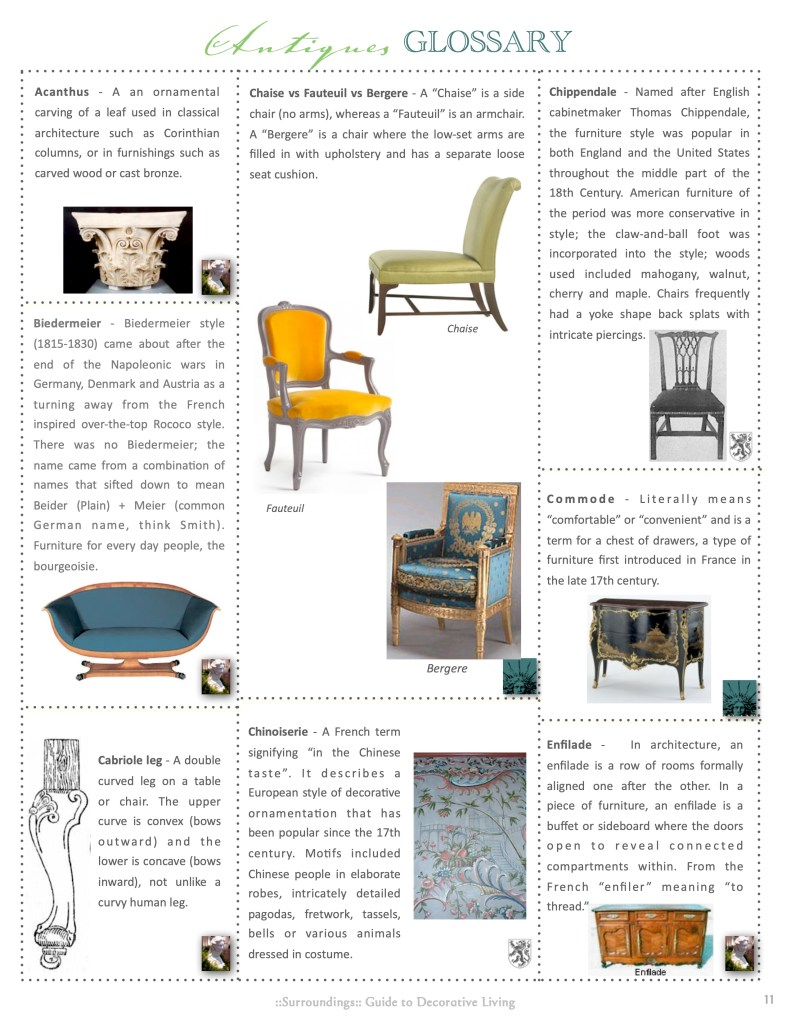 Antiques Glossary 1 Linda Merrill Decorative Surroundings