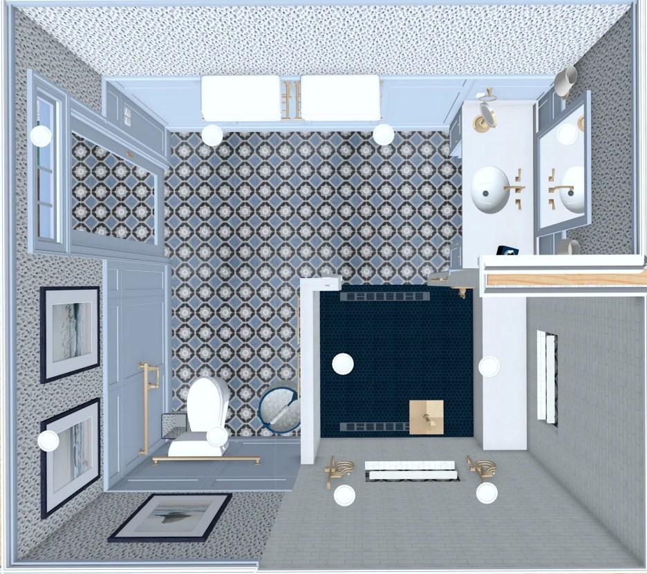 071221 Linda Merrill ADA Universal wheelchair accessible guest bathroom blue and white dollhouse view