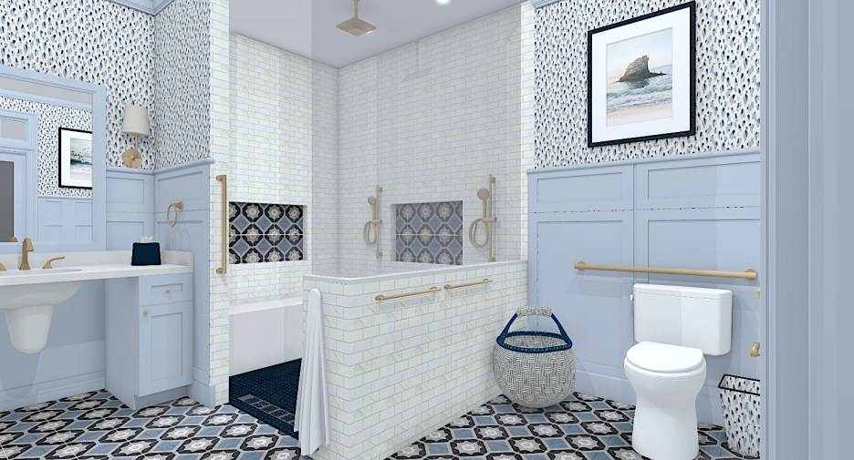 Linda Merrill Decorative Surroundings Dream Home 2021 ADA Universal and Accessible Guest Bathangled