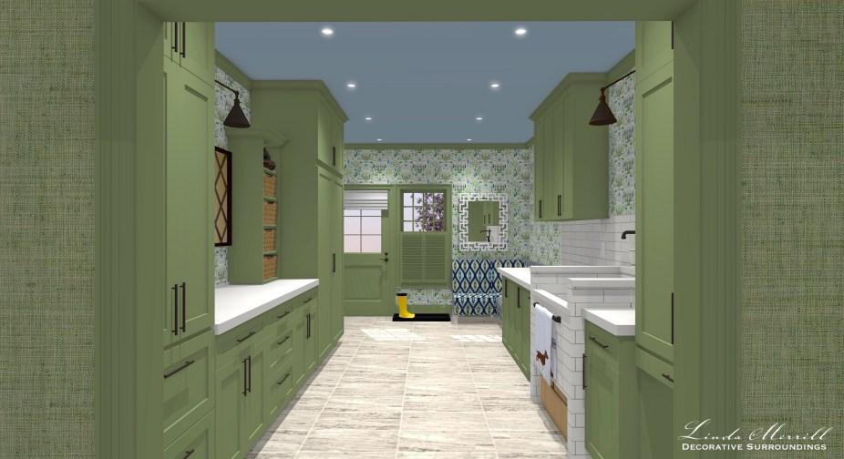 Linda Merrill Decorative Surroundings Dream Home 2021 Mudroom laundry from hall