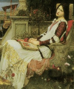 Escalating emotion workshop, Waterhouse painting of woman sleeping in a chair with a book in her lap.