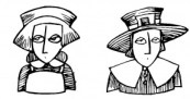 B/W Line Drawing Cartoon of A Puritan Woman and Man