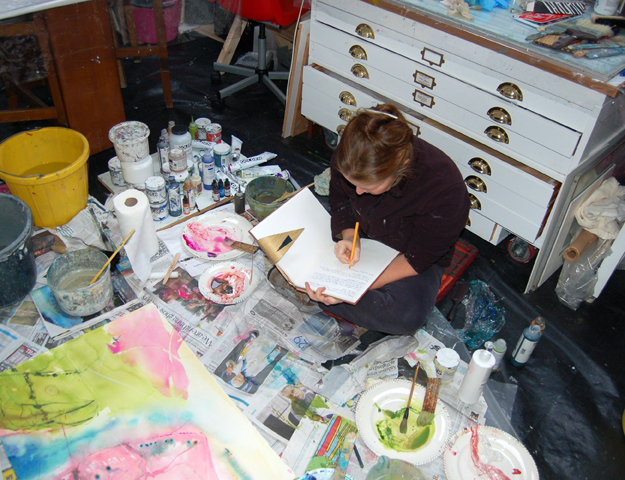 Writing in the studio.