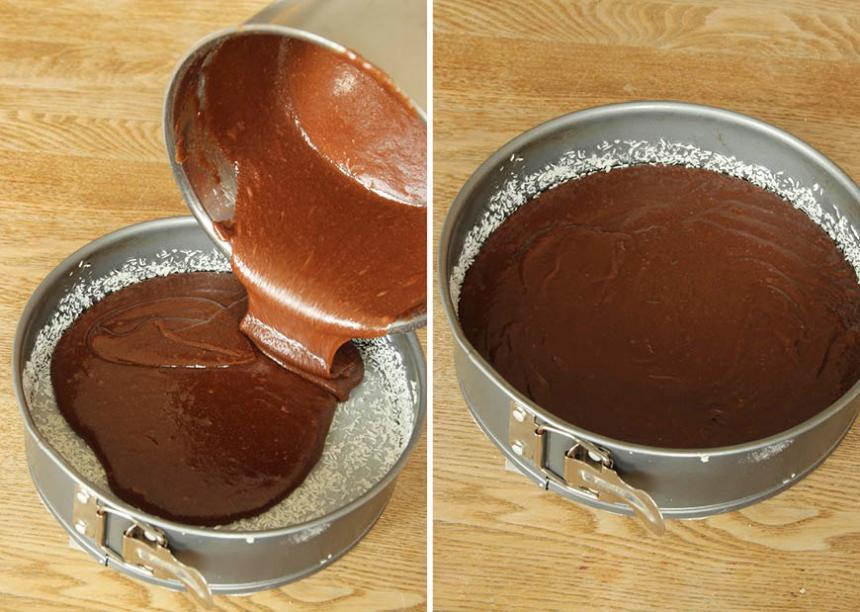 2. Smörj och bröa en form med löstagbar kant, 22–24 cm i diameter. Använd kokos eller ströbröd. Häll smeten i formen.