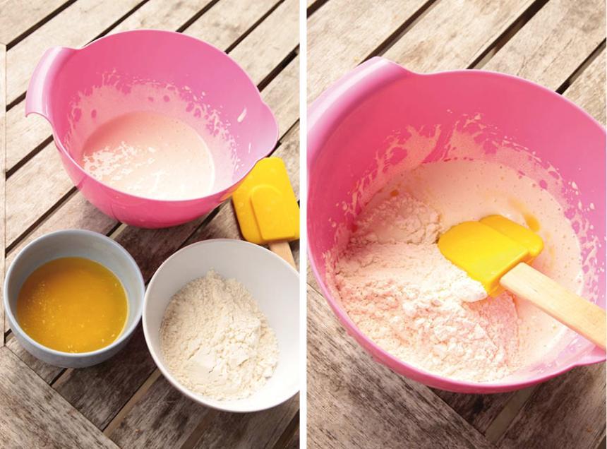 1. Sätt ugnen på 180 grader. Vispa ägg och socker vitt och pösigt i en bunke. Vänd ner vetemjöl och smör och rör om försiktigt till en smet.