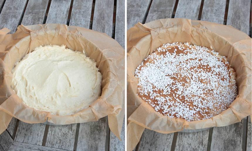 3. Bred ut smeten i formen. Pudra kanel och strö pärlsocker över kakan.