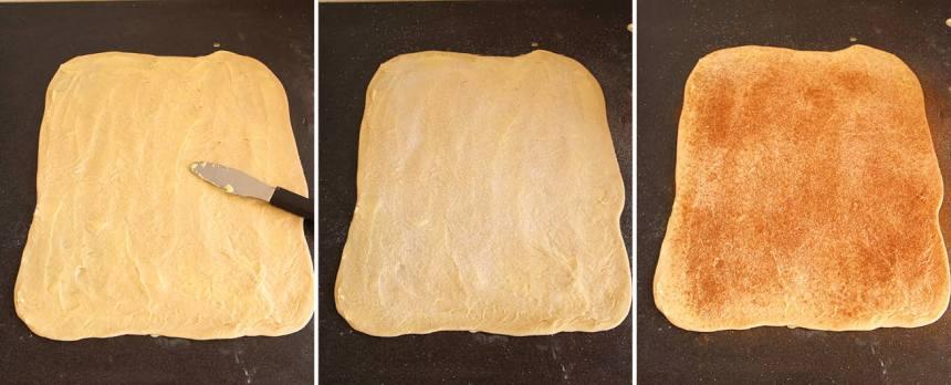 3. Bred ut smör på degen och strö över socker och kanel.