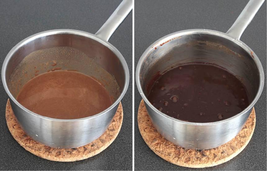 1. Sätt ugnen på 175 grader. Smält smöret i en kastrull. Bryt nougaten i bitar och låt den smälta ihop med smöret på eftervärmen. Blanda ihop de torra ingredienserna och rör ner dem i kastrullen. Knäck i äggen och blanda ihop till en slät smet.