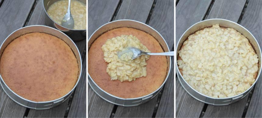 4. Ta ut kakan och bred ut smeten på ytan. Grädda kakan i ytterligare ca 15 min tills toscasmeten fått färg.