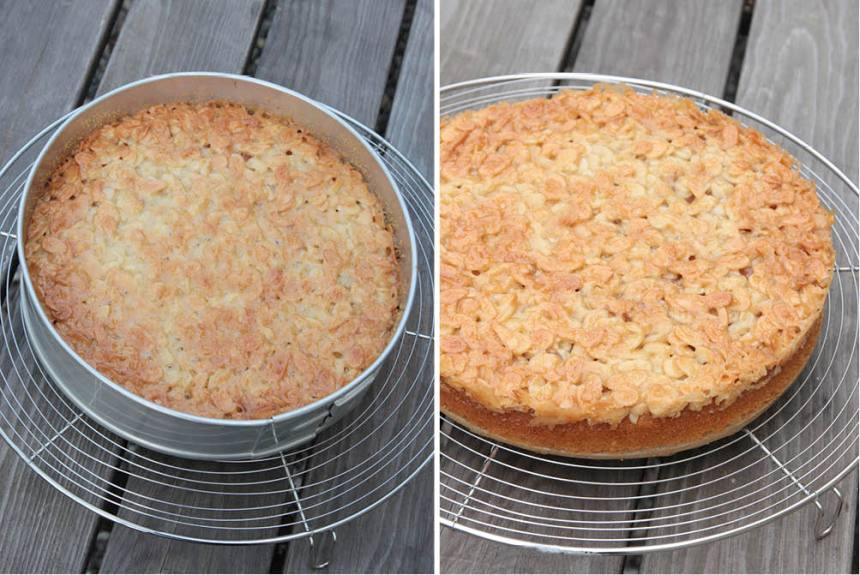 5. Låt kakan svalna i formen innan du tar bort kanten och skär den i bitar.