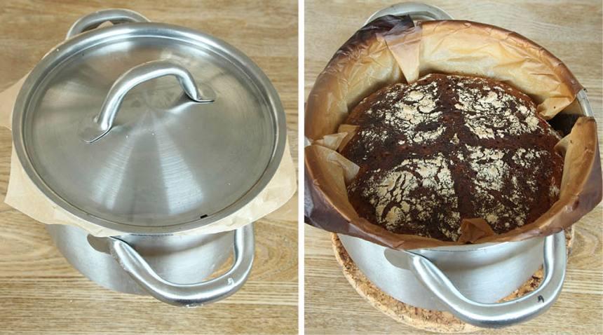 4. Grädda brödet längst ner i ugnen med locket på i ca 15 min. Ta av locket och sänk temperaturen till 200 grader. Grädda brödet i ytterligare 15–20 min.