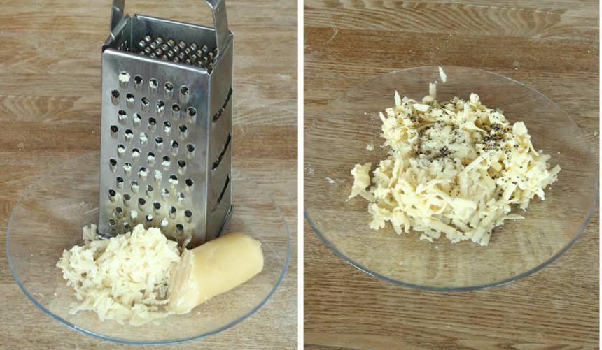 3. Fyllning: Riv mandelmassa och smör grovt och strö över kardemummakärnorna.