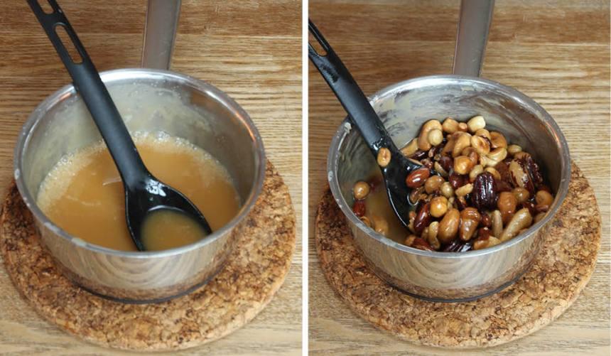 5. Toscatäcke: Koka upp grädde, socker och sirap i en kastrull. Låt det puttra till en tjock kolasmet. Stäng av värmen och rör ner smör och nötter.