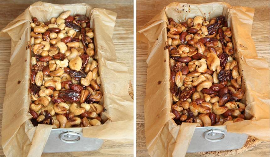 6. Ta ut kakan när de 25–30 minuterna gått och häll över toscasmeten. Höj värmen till 250 grader och grädda kakan i ca 5 min till. Låt den svalna i formen.