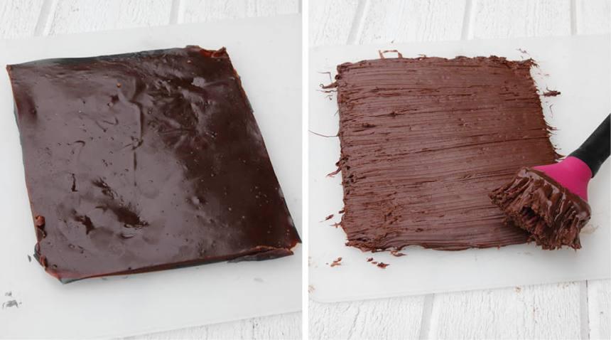 3. Garnering: Smält chokladen och bred ut den på kolan. Låt den stelna. Skär kolan i bitar när chokladen stelnat. Förvara kolan i kylen i en burk med tätslutande lock.