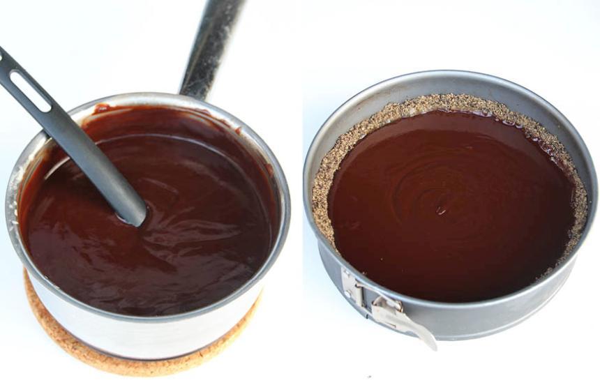 5. Chokladfyllning: Koka upp grädden i en kastrull. Stäng av värmen och låt chokladen smälta i grädden. Blanda ihop allt ordentligt till en kräm och bred ut den på kolasåsen. Låt den stelna i kylen och strö eventuellt på lite flingsalt. Servera pajen med en klick vispgrädde.