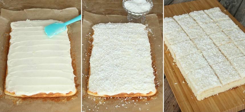 6. Bred ut glasyren över kakan och strö över kokos. Låt glasyren stelna innan du skär kakan i bitar med en vass kniv. Jämna gärna till ytterkanterna.