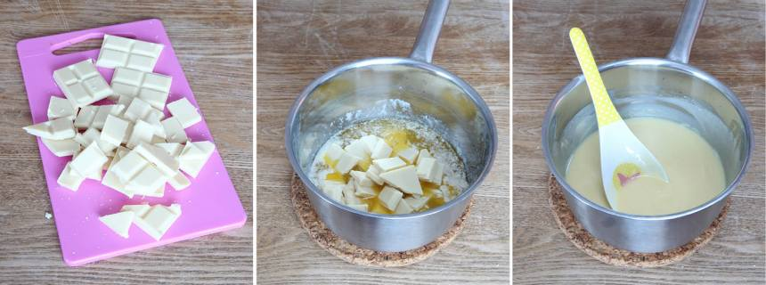 1. Sätt ugnen på 180 grader. Bryt chokladen i bitar och smält smöret i en kastrull. Ta bort den från värmen och låt chokladen smälta i smöret.