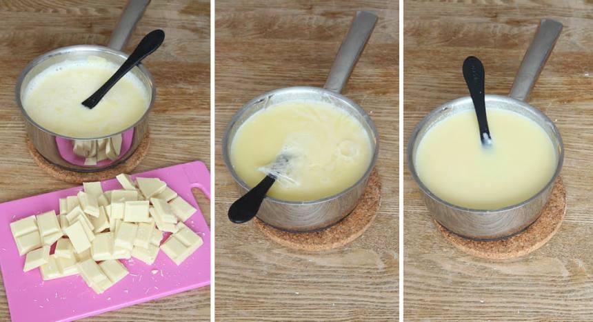 4. Sjud grädden och sockret i en kastrull tills sockret har löst sig. Tillsätt chokladen och låt den smälta i grädden. Krama ur gelatinbladen och smält ner dem i grädden. Blanda ordentligt.
