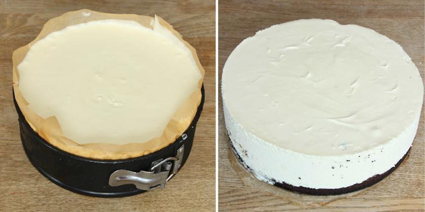 9. Bred ut moussen över chokladbottnen. Ställ kakan i frysen ett par timmar tills den är genomfrusen. Ta fram tårtan ca 30 min före servering. Förvara kakan i kylen. Garnera med jordgubbar och pudra över lite florsocker.