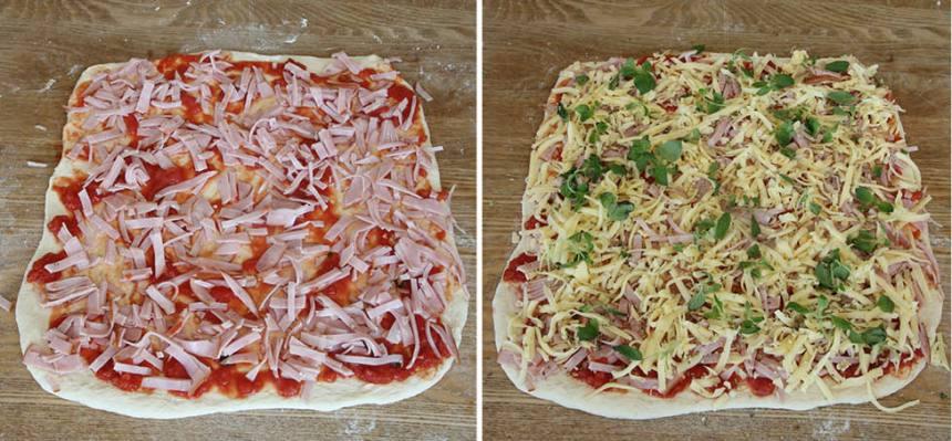 4. Strö ut skinka, ost och oregano på degplattorna.