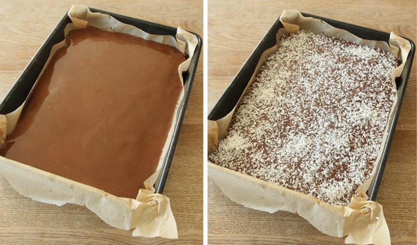 5. Bred ut kolaglasyren på kakan och strö över kokos. Låt kolan stelna lite innan du skär kakan i bitar.