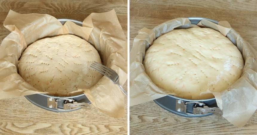 3. Nagga degen med en gaffel. Låt degen jäsa under bakduk i ca 1 tim. Sätt ugnen på 250 grader.