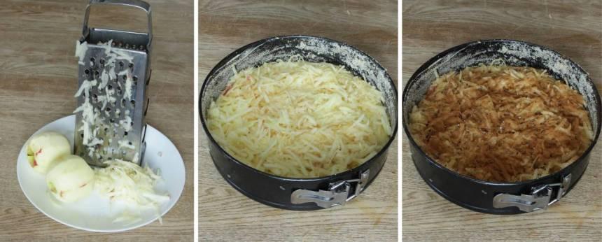 6. Skala och skivan äpplena. Lägg de rivna äpplena på smeten i formen. Pudra över kanel och kardemumma.