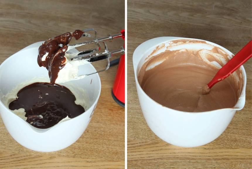 3. Häll ner den kalla chokladgrädden i den vispade grädden. Vispa till en mousse, men inte för länge för då blir moussen gryning.