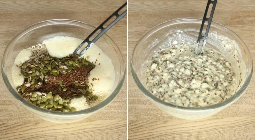 2. Blanda alla torra ingredienser och tillsätt dem i äggröran. Rör om ordentligt.