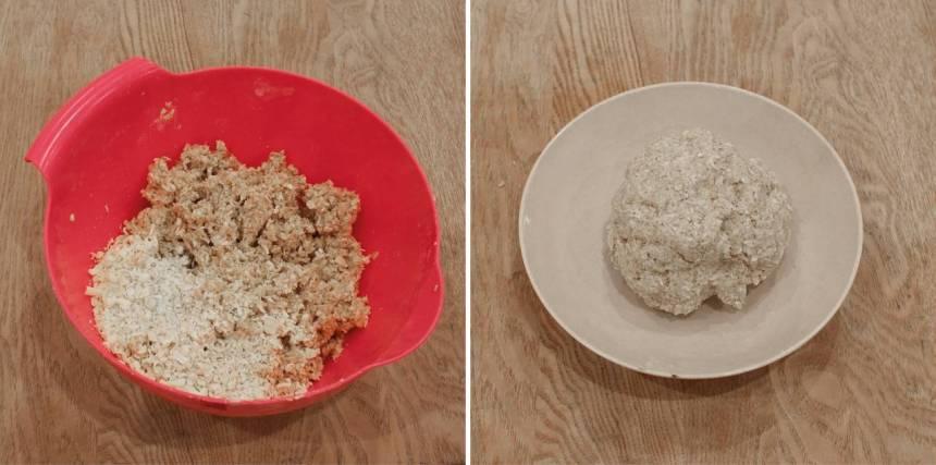 2. Nyp ihop smör och havregryn ordentligt. Tillsätt resten av ingredienserna och blanda ihop allt till en lagom kladdig deg.