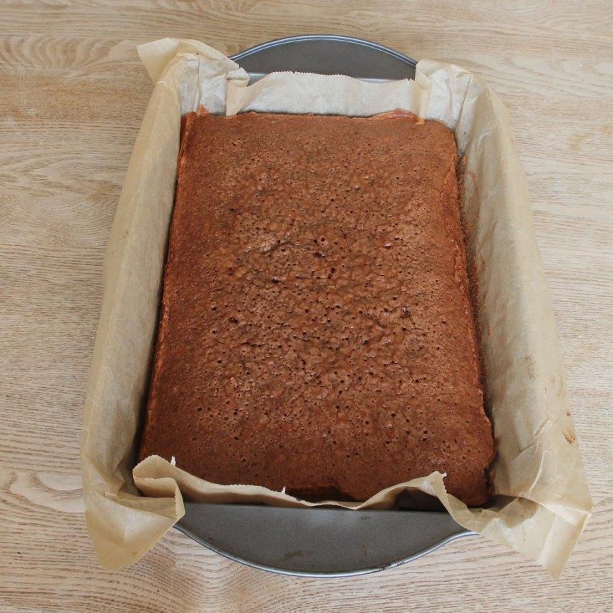 3. Grädda kakan mitt i ugnen i 22–24 min. Låt den kallna i formen.