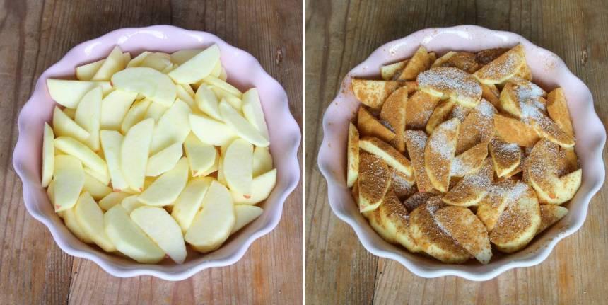 2. Lägg äppelbitarna i en pajform, ca 26 cm i diameter. Strö över kanel och strösocker.
