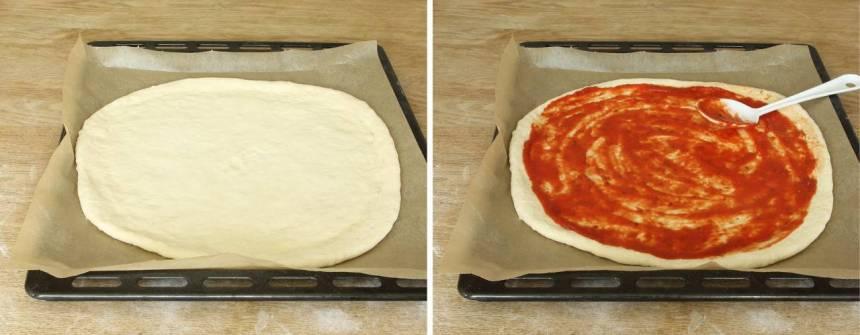 3. Bred ut pizzasåsen på degen.