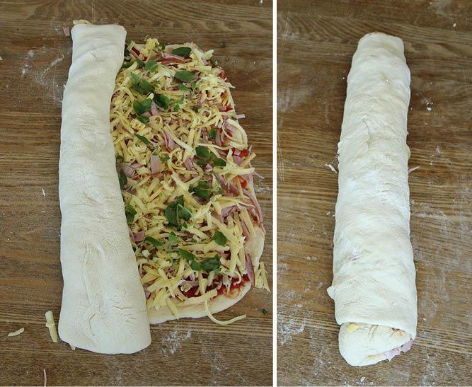 5. Skär rullarna i skivor, ca 2 cm breda. Lägg bullarna på en plåt med bakplåtspapper. Låt dem jäsa i 20–30 min. Sätt ugnen på 250 grader.