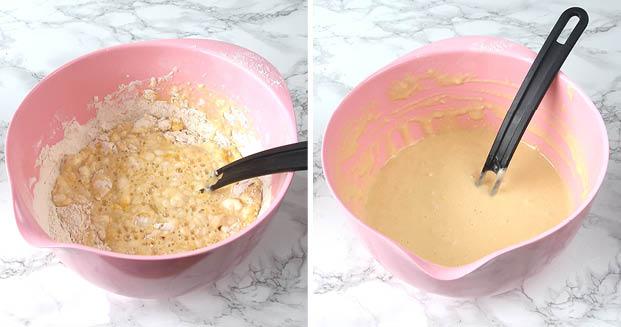 1. Vispa ihop vetemjöl, ägg, salt och ca 1/3 mjölk till en tjock massa (utan klumpar).