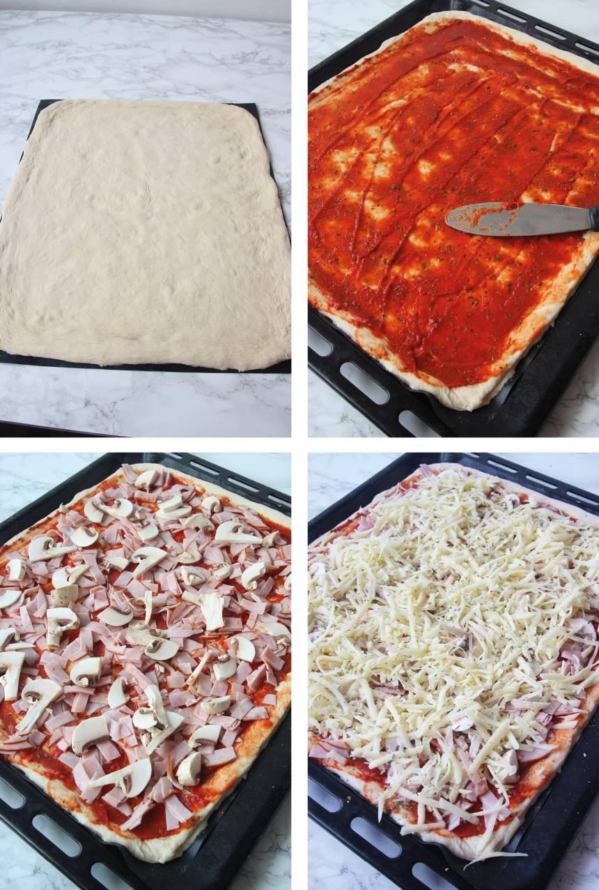 3. Kavla eller tryck ut degen med fingrarna på ett bakplåtspapper. Lägg den på en plåt. 4. Bred ut tomatsåsen på degen. 5. Strö över skinka, champinjoner och ost (eller andra valfria ingredienser). Låt degen jäsa i ca 10 min.